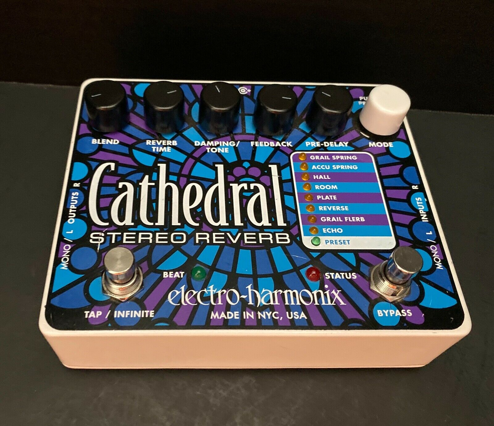 Electro Harmonix Cathedral Stereo Reverb Guitar Effect Pedal Excellent Condition