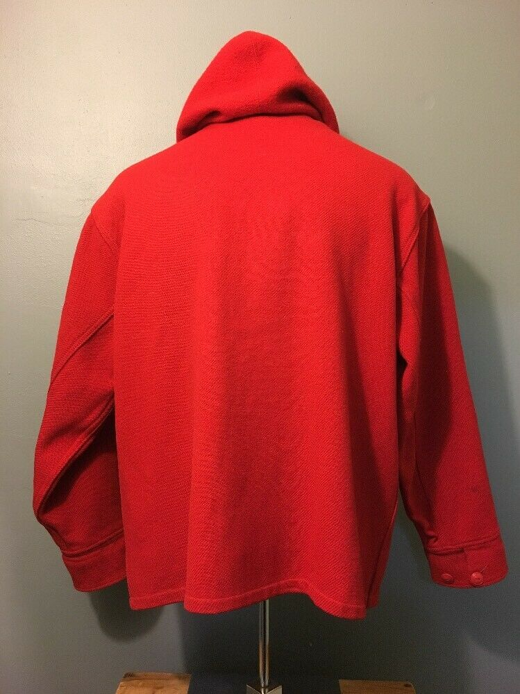 Vintage 40s 50s Woolrich Red Wool Hunting Zip-Up … - image 4