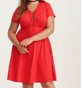 bfcb2e6aebc Torrid Jersey Lace Up Skater Dress Red 00X Med Large 10  56879