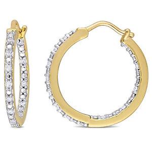 Amour yellow sterling silver Diamond inside outside Hoop Earrings