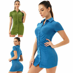 Women's Elegant Short Sleeve Pleated Turn-Down Collar Button Blouse Ruched Dress