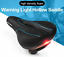 Bicycle Saddle with Tail Light Widen MTB Road Bike Cushion Cycling Accessories