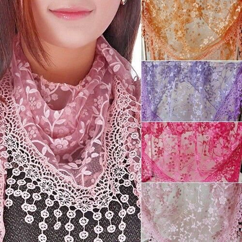 Women Lace Hollow Shawl Neck Soft Wrap Tassel Flower Floral Print Triangle Scarf