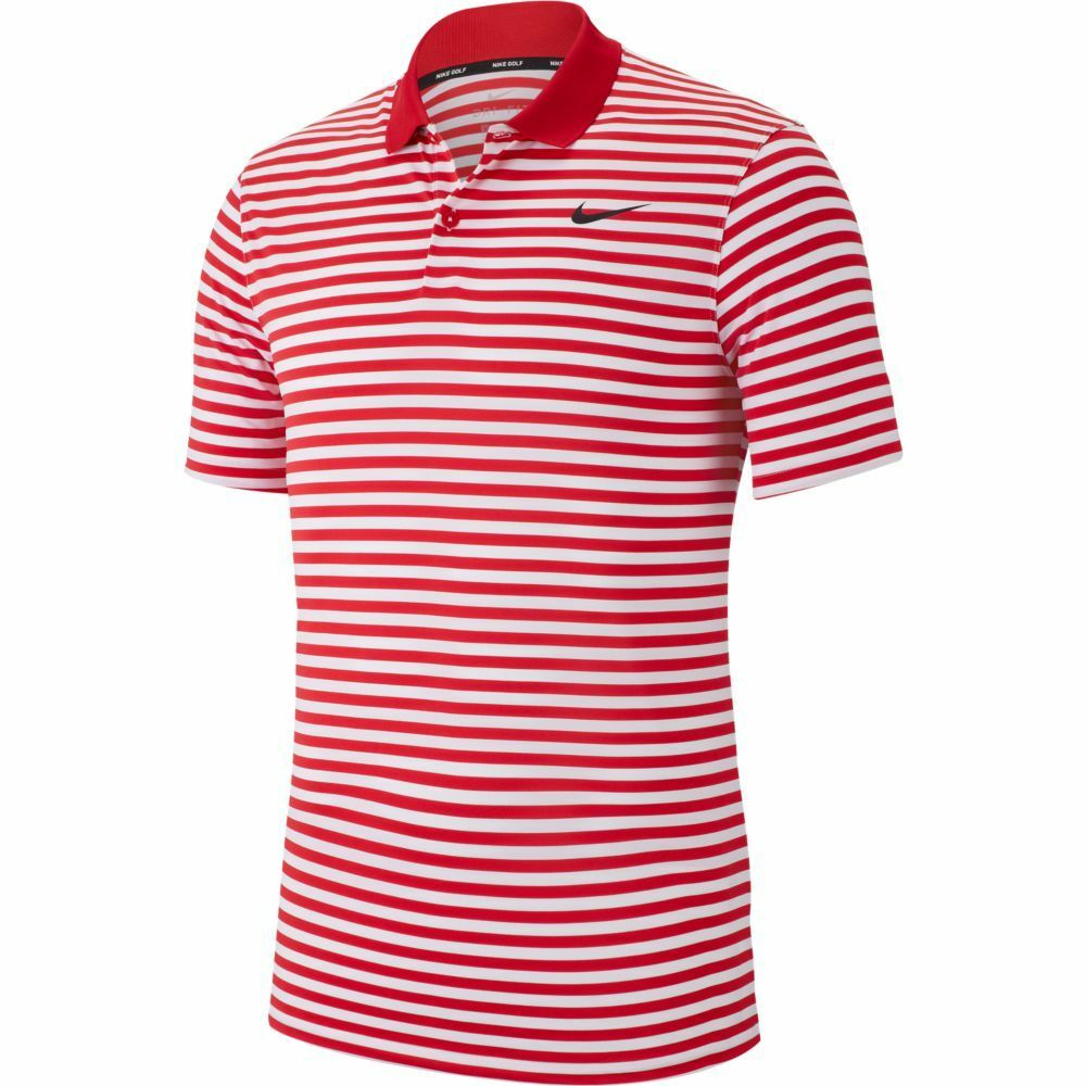 NIKE MEN'S VICTORY DRI-FIT STRIPE POLO 891881 RED LG (FAST FREE SHIPPING)