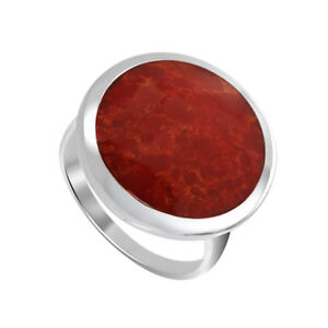 925-Sterling-Silver-Round-Coral-Gemstone-Solitaire-Ring-Size-4-5-9-5