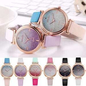 Glitter-Sparkling-Women-039-s-Wrist-Watch-Rose-Gold-Leather-Bracelet-Ladies-Gift-UK