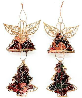 Set of 4 Small Pot Pourri Xmas Decorations 2x Angel 2x Christmas Tree Ornaments