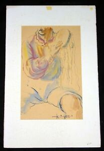 1960s Hawaii/Chinese WC Painting Seated Figure by Hon Chew Hee (Hee) #1219