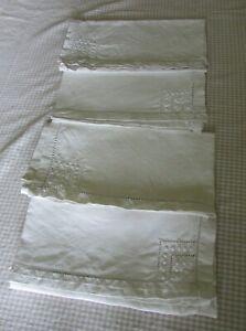 Antique-French-Set-4-Embroidered-Ladderwork-Linen-Napkins-Serviettes-c1920s