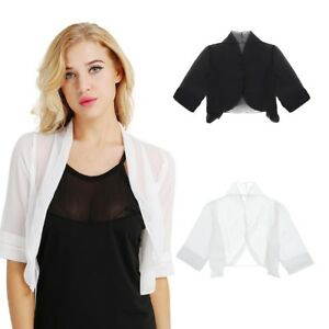 Women-039-s-3-4-Sleeve-Bolero-Chiffon-Bridesmaid-Shrug-Cardigan-Formal-Top-Jacket