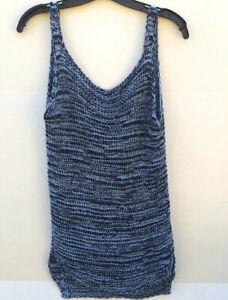 Zara-Knit-Womens-Size-Medium-Blue-Acrylic-Knit-Sleeveless-Tank-Top-Blouse