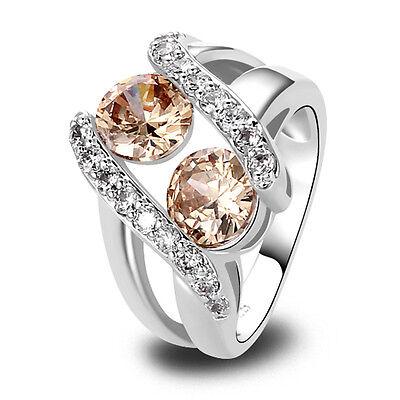 Lady's Morganite White Sapphire Gemstones Silver Ring Size 6 7 8 9 10 11 12 13