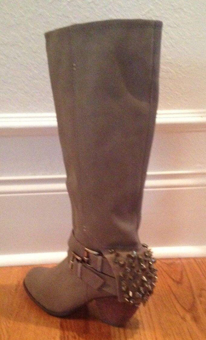 NIB    170 Naughty Monkey MIX MASTER Taupe STUDDED Boots Womens 9 M 35f3fd