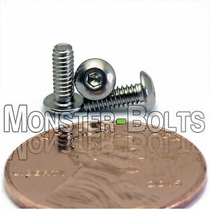 "Stainless Steel BUTTON HEAD Socket Cap Screws 18-8 A2 #4-40 x 5//16/"" QTY 10"