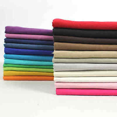 "by the yard 1 meter Cotton Linen Thin Soft Fabric DIY Solid Color 55""   #3"