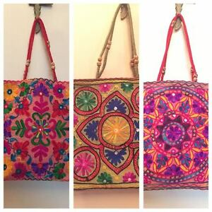 Image Is Loading Shoulder Bag Ethnic Multicolour Embroidered Mirror Hippie Boho