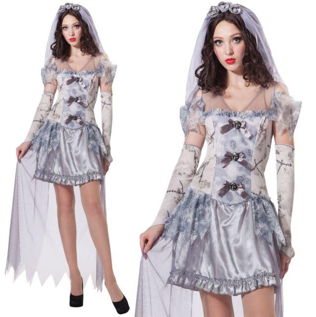 Ladies Ghost Bride Halloween Graveyard Ghoul Corpse Fancy Dress Costume 12/14