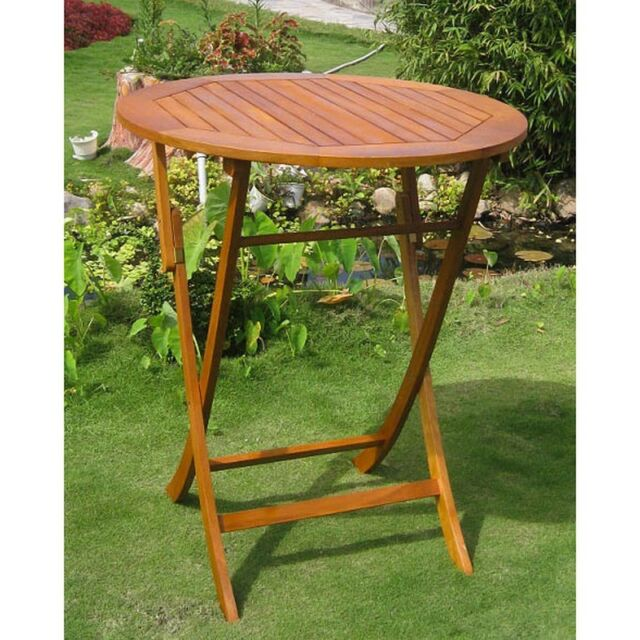 International Caravan Royal Tahiti Outdoor 36 In Bar Height Round Folding Table