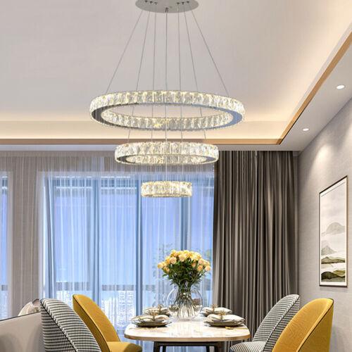 LED Crystal Light Chandelier Pendant Lamp Ceiling Lights 1 2 3 Ring Dimmable UK