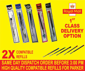 QUALITY 2 X PARKER COMPATIBLE BROAD REFILLS FOR BALLPOINT MEDIUM RED-GREEN-PINK Ec9DeCGM-09110028-409613891