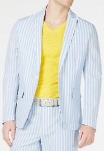 INC Mens Blazer White Blue Size XS Seersucker Slim Fit Striped Notched $129 #371