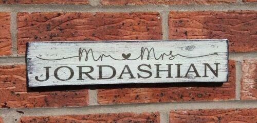 et Mme Cadeau Personnalisé Rustique Mariage Table SIGNE vintage en bois de M