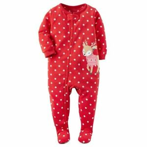 Carters-NWT-2T-Toddler-Pink-Sweater-Reindeer-Christmas-Footed-Fleece-Pajama-Girl