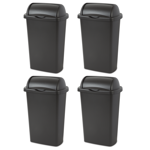 Trash Can 4 Case Waste Basket Roll Up Lid 13 Gal Garbage Disposal