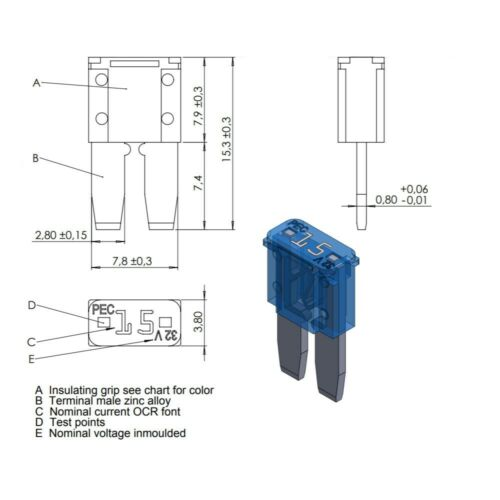 25 Flosser 502825 25 Amp Micro 2 Style Fuses ATR MIC2 Type Made in the EU