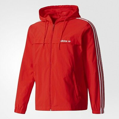 LARGE adidas Originals Men's 3 STRIPED Hooded Windbreaker Jacket BR4138 1AVL   eBay