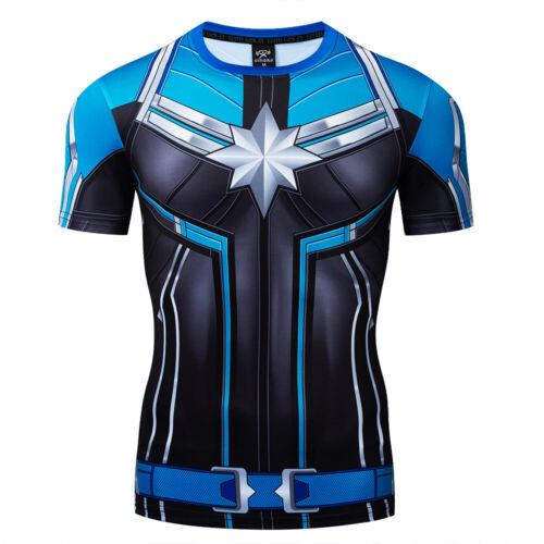 Superhero Men/'s Short Sleeve T-shirts Compression Sportswear Fitness Gym Clothes