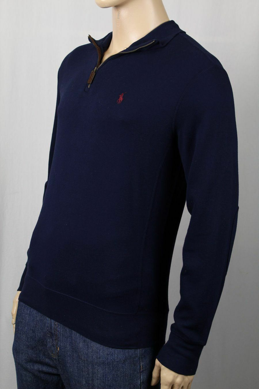 Polo Ralph Lauren Navy 1 2 Lightweight Half Zip Sweater Burgundy Pony NWT  145