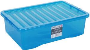 Image Is Loading 32 Litre Plastic Storage Box Blue Underbed