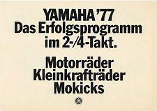 Prospekt 1977 Motorrad Yamaha XS 650 750 Chappy Bop FS1 TY 50 M Motorradprospekt