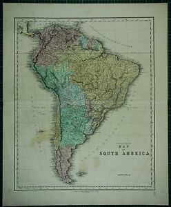 1850 LARGE ANTIQUE HAND COLOURED MAP SOUTH AMERICA CHILE BRAZIL