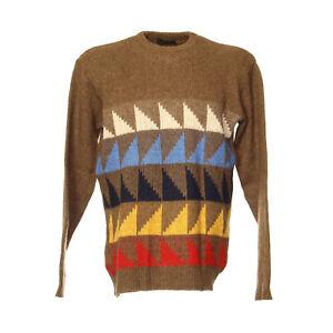 Strickpullover-Sweater-Groesse-M-Pullover-Retro-Vintage-Motiv-Weich-Braun-Rundhals