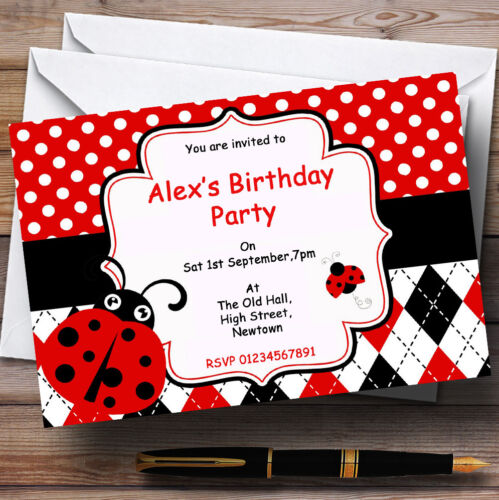 Th78 Red Ladybird Theme Personalised Birthday Party Invitations