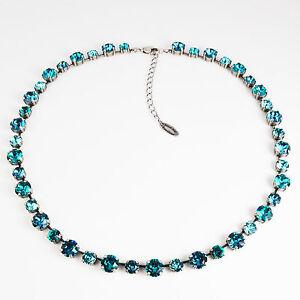 Collier-Kette-lang-Tennis-Silber-42-Swarovski-Kristalle-Indicolite-tuerkis-blau