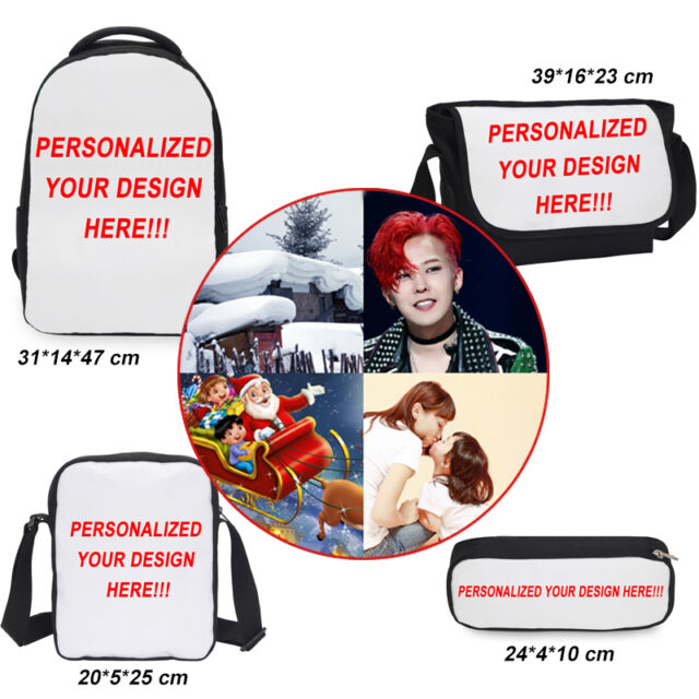 Custom Personalized Women Men Backpack School Bookbag Travel Rucksack Pencil Bag