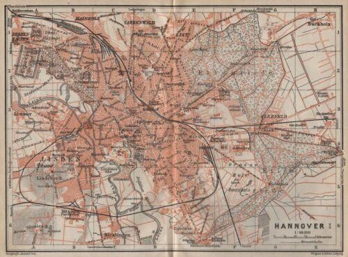 HANNOVER antique town city stadtplan I Hanover Lower Saxony karte 1910 map