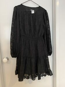 dotti size 10 Long Sleeve Lace Dress Black