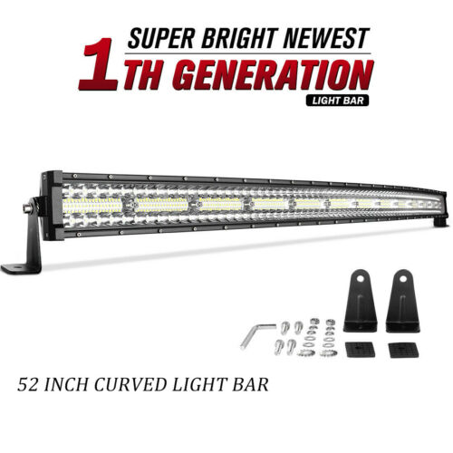 """Curved 52inch LED Light Bars Tri Row Flood Spot Combo Driving Offroad Truck 54/"""""""