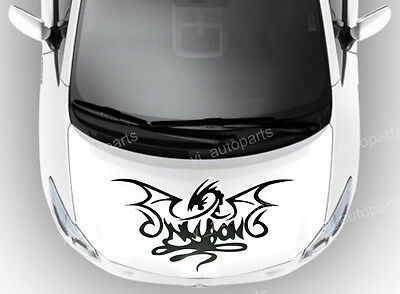 "Car Front Hood Body Graphic Vinyl Sticker Decal Dragon Black 19"" Racing Sports"
