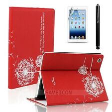 For iPad 4 4th 3 & 2 Retina Display Leather Folio Case Cover Stand Dandelion Red