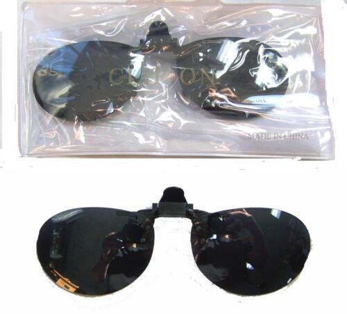 1 PAIR CLIPON DARK LENSES OVAL SHAPED SUNGLASSES shades mens women clip on glass