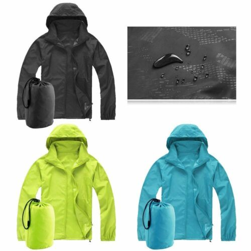 Unisex Waterproof Hooded Winder Jacket Lightweight Zip Up Rain Coat Outwear