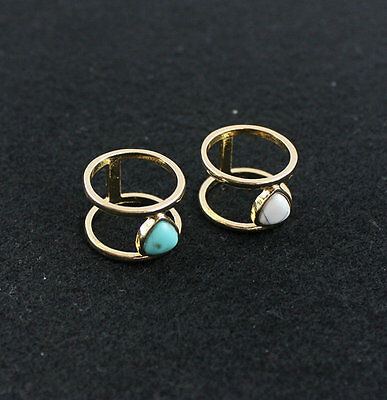 14K Gold Plated Magnifi Inspired Inlay turquoise Ring