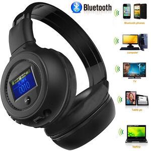 Nuovo-Wireless-Bluetooth-Music-Cuffie-Stereo-Cuffia-con-Chiamate-Microfono-Fm-Sd