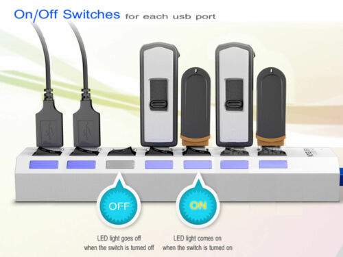 7 Port USB 3.0 Hub On//Off Switches AC Adapter Cable Splitter for Laptop//Desktop