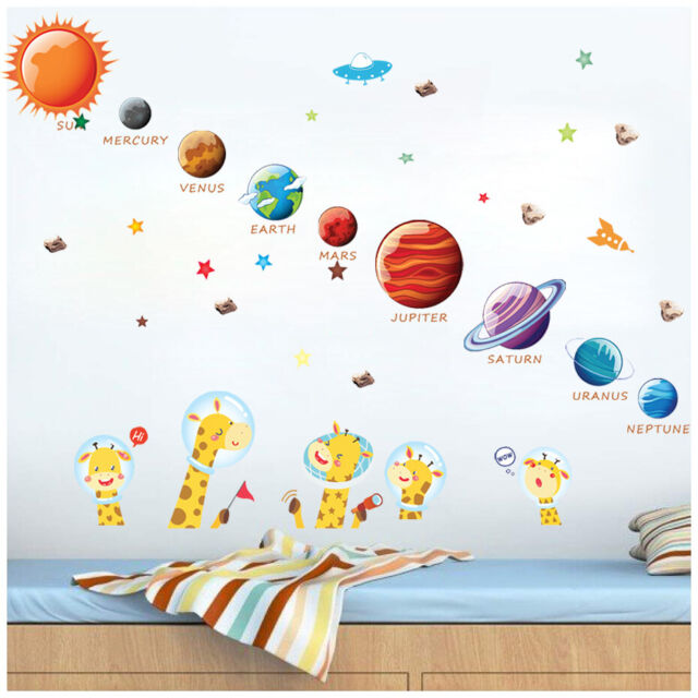 Beauty Removable Galaxy Planet Space Wall Art Kids Bedroom Stickers Decal